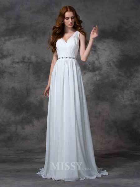 A-line/Princess V-neck Sweep/Brush Train Chiffon Dress With Sash Beading