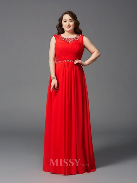 A-Line/Princess Scoop Floor-Length Chiffon Plus Size Dress With Beading