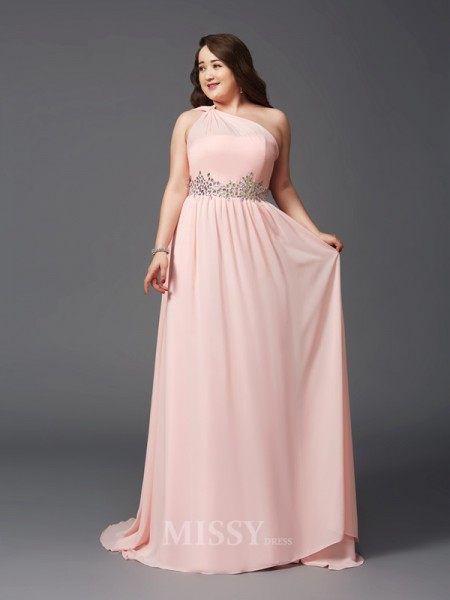 A-Line/Princess One-Shoulder Sweep/Brush Train Chiffon Plus Size Dress With Rhinestone
