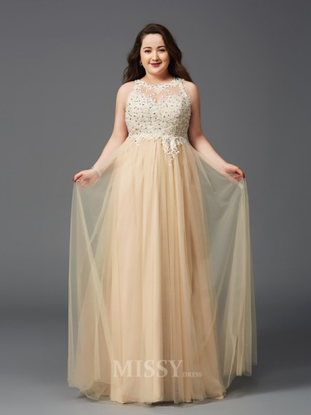A-Line/Princess Scoop Floor-Length Net Plus Size Dress With Embroidery Rhinestone
