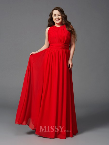 A-Line/Princess Jewel Floor-Length Chiffon Plus Size Dress With Beading Ruched