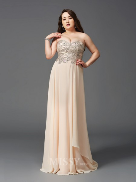 A-Line/Princess Sweetheart Sweep/Brush Train Chiffon Plus Size Dress With Sequin Rhinestone