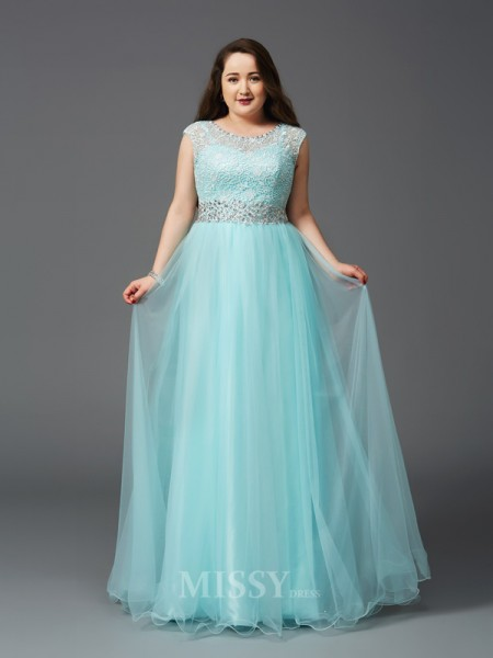 A-Line/Princess Scoop Floor-Length Elastic Woven Satin Plus Size Dress With Pleats Rhinestone