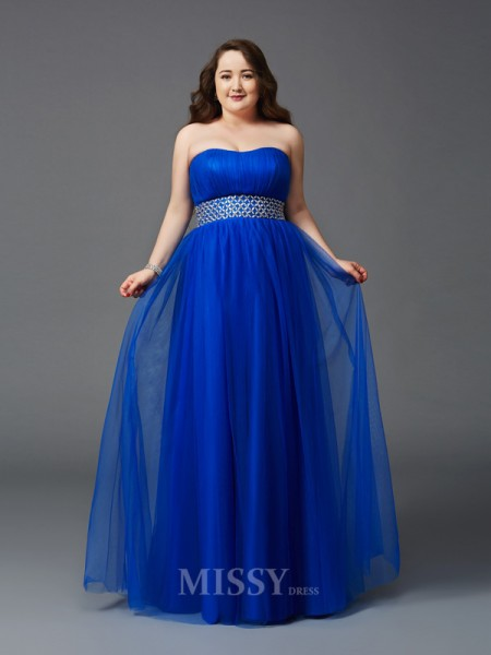 A-Line/Princess Strapless Floor-Length Net Plus Size Dress With Ruffles Beading