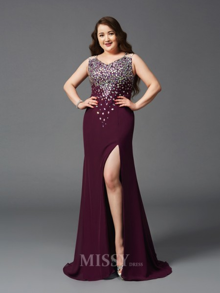 Sheath/Column Straps Sweep/Brush Train Chiffon Plus Size Dress With Beading Rhinestone
