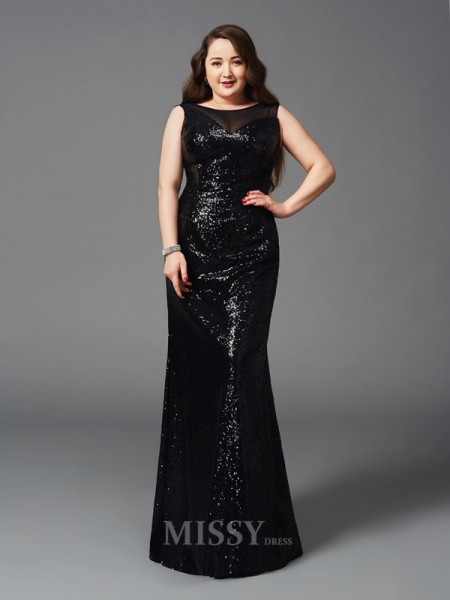 Sheath/Column Scoop Floor-Length Sequins Plus Size Dress With Beading