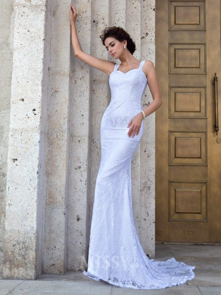 Sheath/Column Straps Court Train Lace Wedding Dress With Beading Applique