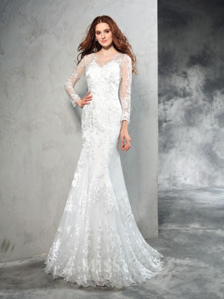 Sheath/Column Sheer Neck Long Sleeves Lace Sweep/Brush Train Net Wedding Dress With Ruffles