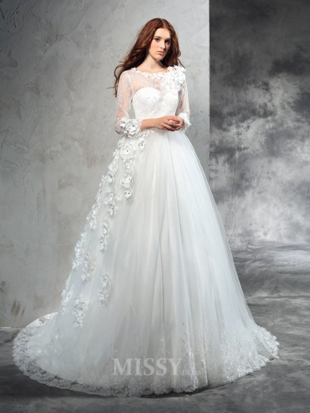 Ball Gown Sheer Neck Long Sleeves Hand-Made Flower Court Train Net Wedding Dress With Beading