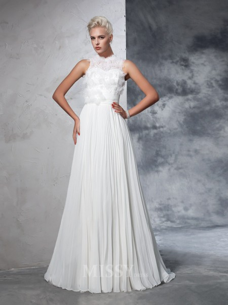 A-Line/Princess High Neck Chiffon Court Train Wedding Dress With Beading Pleats