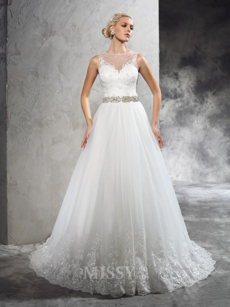 A-Line/Princess Sheer Neck Court Train Net Wedding Dress With Ruffles Beading