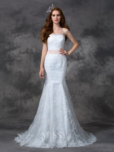 Trumpet/Mermaid Strapless Court Train Lace Wedding Dress With Beading Sash/Ribbon/Belt