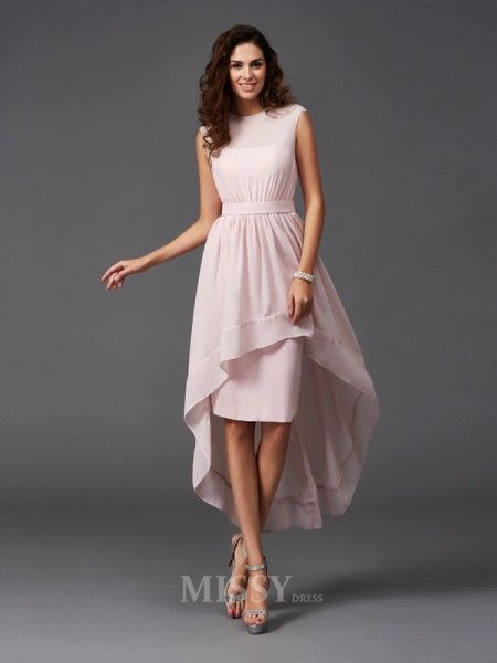 A-Line/Princess Scoop Asymmetrical Chiffon Bridesmaid Dress With Applique Sash/Ribbon/Belt