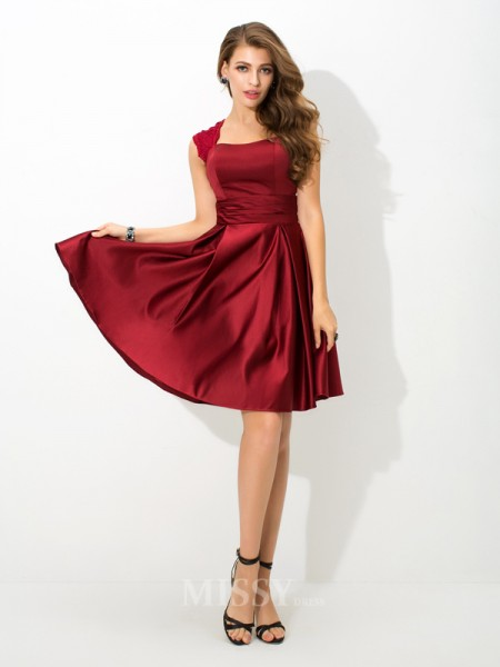 A-Line/Princess Straps Mini Satin Bridesmaid Dress With Beading Pleats