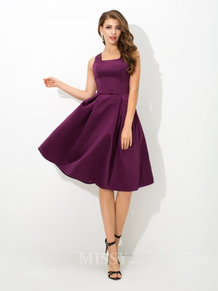 A-Line/Princess Square Knee-Length Satin Bridesmaid Dress With Beading Pleats