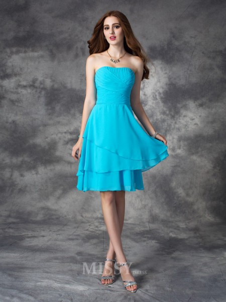 A-line/Princess Strapless Mini Chiffon Bridesmaid Dress With Beading Ruffles