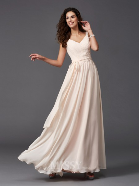 A-Line/Princess Straps Floor-Length Chiffon Bridesmaid Dress With Rhinestone