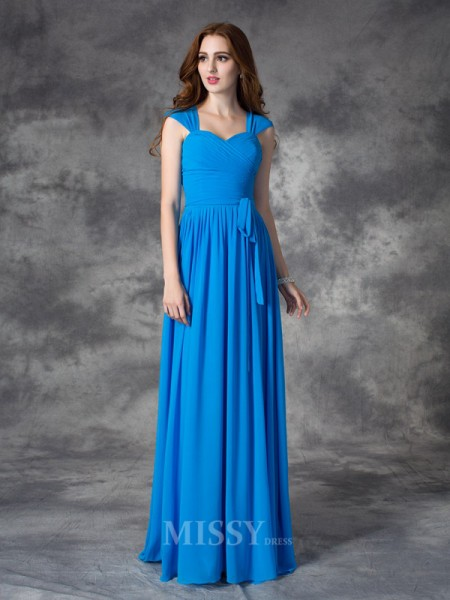 A-line/Princess Straps Floor-length Chiffon Bridesmaid Dress With Ruched Ruffles