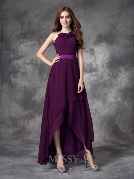 A-line/Princess Halter Asymmetrical Chiffon Bridesmaid Dress With Lace Ruffles