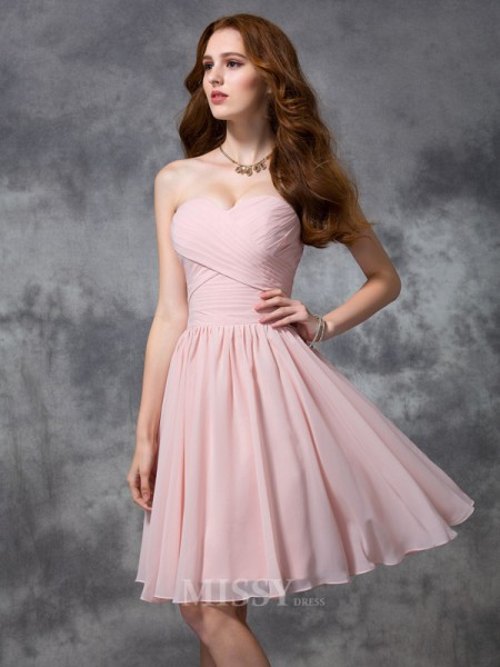 A-line/Princess Knee-length Sweetheart Chiffon Bridesmaid Dress With Beading Ruched