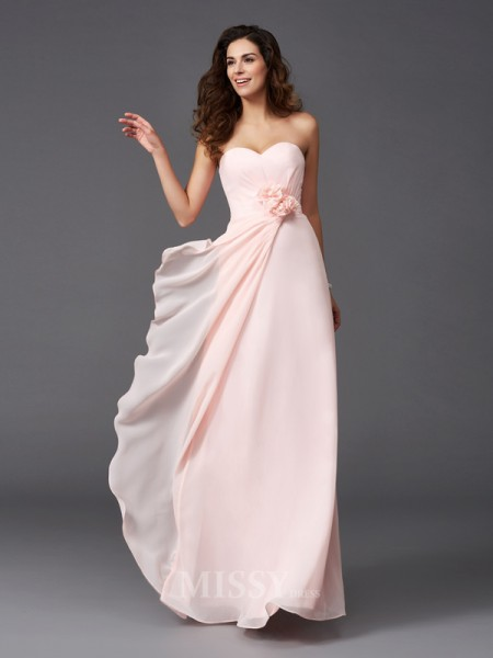A-Line/Princess Sweetheart Floor-Length Chiffon Bridesmaid Dress With Sequin Hand-Made Flower