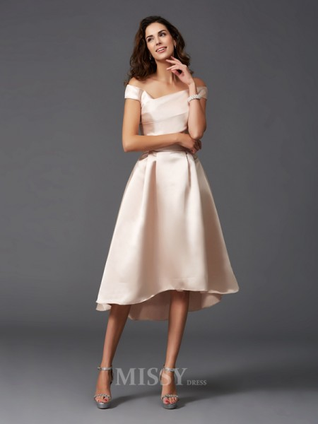 A-Line/Princess Off-the-Shoulder Asymmetrical Satin Bridesmaid Dress With Pleats