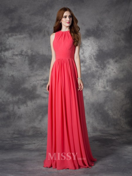 A-line/Princess Jewel Floor-Length Chiffon Bridesmaid Dress With Sequin Ruffles