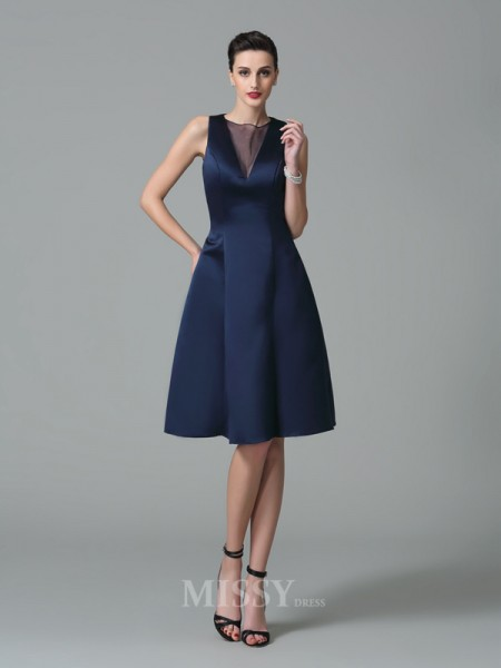 A-Line/Princess Jewel Knee-Length Satin Bridesmaid Dress With Embroidery Ruffles
