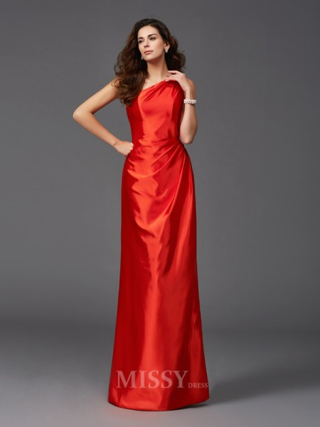Sheath/Column One-Shoulder Elastic Woven Satin Floor-Length Bridesmaid Dress With Beading