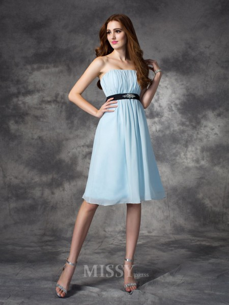 A-line/Princess Strapless Knee-Length Chiffon Bridesmaid Dress With Pleats Rhinestone