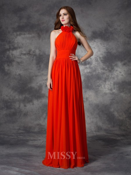 A-Line/Princess Halter Floor-Length Chiffon Bridesmaid Dress With Beading Hand-Made Flower