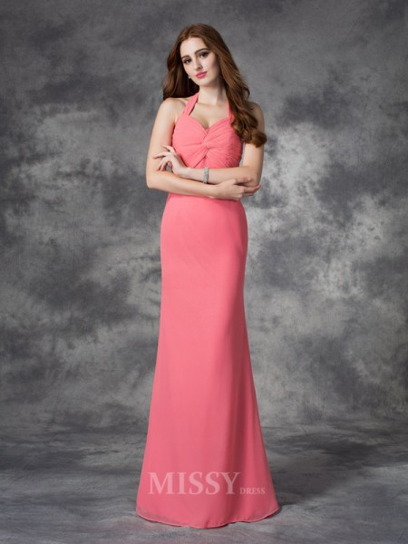 Sheath/Column Halter Floor-Length Chiffon Bridesmaid Dress With Applique Ruched