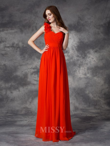 A-Line/Princess One-Shoulder Floor-Length Chiffon Bridesmaid Dress With Rhinestone Hand-Made Flower