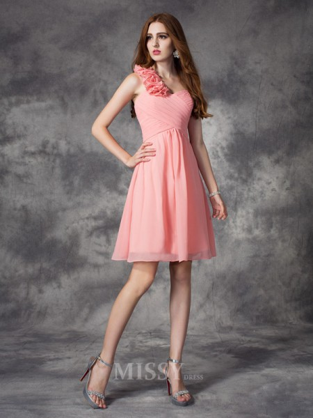 A-Line/Princess One-Shoulder Mini Chiffon Bridesmaid Dress With Ruched Hand-Made Flower