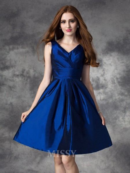 A-Line/Princess V-neck Mini Taffeta Bridesmaid Dress With Lace Ruched