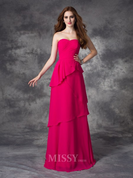 A-line/Princess Sweetheart Floor-Length Chiffon Bridesmaid Dress With Embroidery Layers