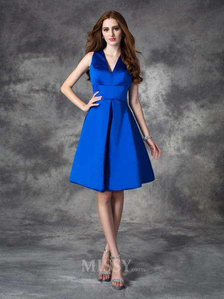A-Line/Princess V-neck Mini Satin Bridesmaid Dress With Beading Ruched