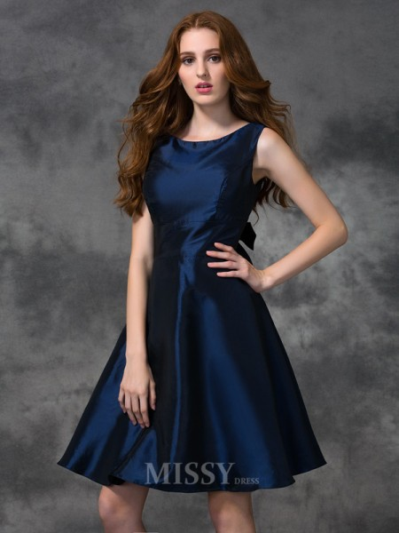 A-line/Princess Scoop Knee-length Taffeta Bridesmaid Dress With Beading