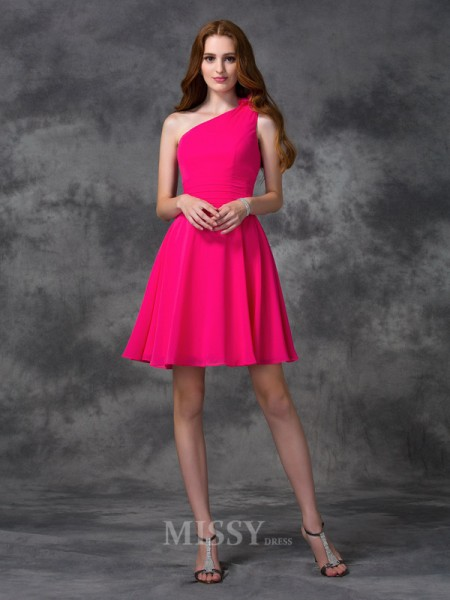 A-line/Princess One-Shoulder Mini Chiffon Dress With Beading Hand-Made Flower