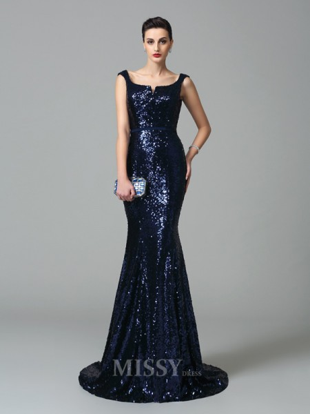 Trumpet/Mermaid Straps Sweep/Brush Train Sequins Dress With Ruffles