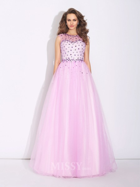 A-Line/Princess Jewel Floor-Length Net Dress With Ruffles Rhinestone