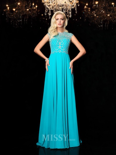A-Line/Princess Lace Jewel Short Sleeves Floor-Length Chiffon Dress With Beading
