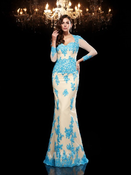 Trumpet/Mermaid Sweetheart 3/4 Sleeves Net Sweep/Brush Train Dress With Beading Applique