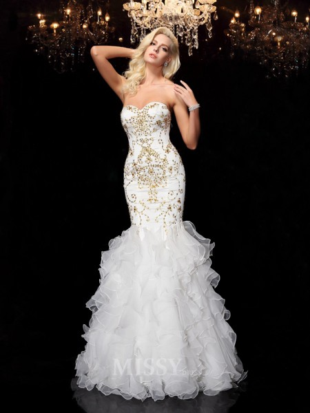 Trumpet/Mermaid Sweetheart Floor-Length Organza Dress With Embroidery Beading