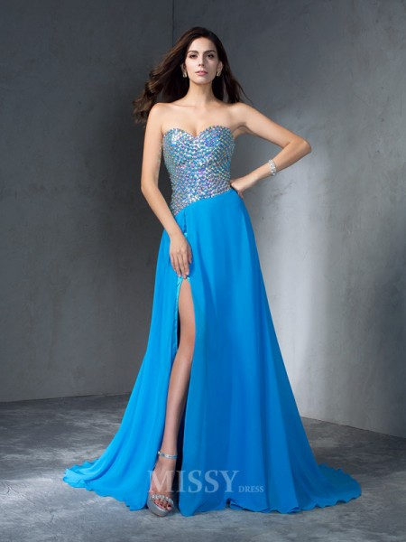 A-Line/Princess Sweetheart Sequin Sweep/Brush Train Chiffon Dress With Ruched