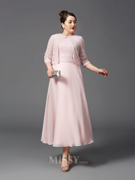 A-Line/Princess Jewel Ankle-Length Chiffon Plus Size Mother of the Bride Dress With Lace