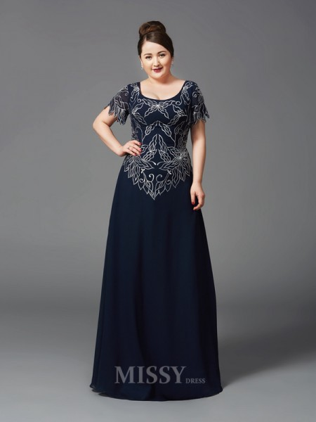 A-Line/Princess Square Short Sleeves Floor-Length Chiffon Plus Size Mother of the Bride Dress With Embroidery