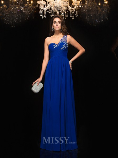 A-Line/Princess One-Shoulder Floor-Length Chiffon Dress With Applique Beading