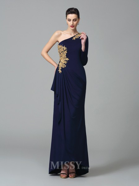 Sheath/Column One-Shoulder Long Sleeves Floor-Length Spandex Dress With Lace Embroidery