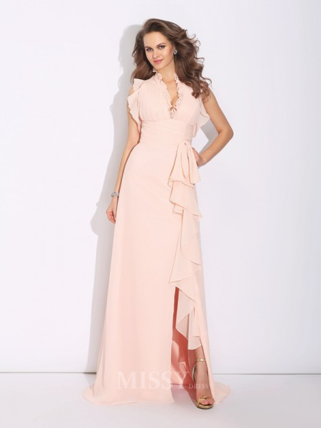 A-Line/Princess High Neck Sweep/Brush Train Chiffon Dress With Embroidery Ruffles